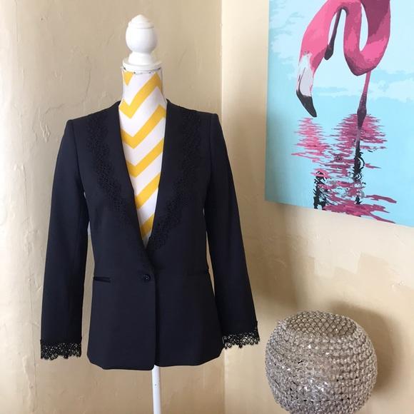 2cadf676a5 The Kooples Jackets & Coats | Navy Lace Trim Blazer | Poshmark